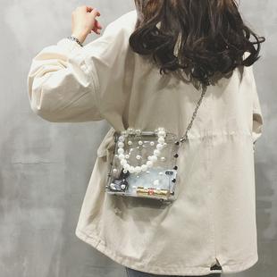 透明小包包女包新款2019果冻单肩斜挎包女百搭ins珍珠链条手提包
