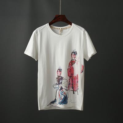 Mùa hè người đàn ông mới của ngắn tay t-shirt Trung Quốc phong cách xu hướng in ấn t-shirt thanh niên slim vòng cổ áo sơ mi 9105 áo thun nam basic Áo phông ngắn