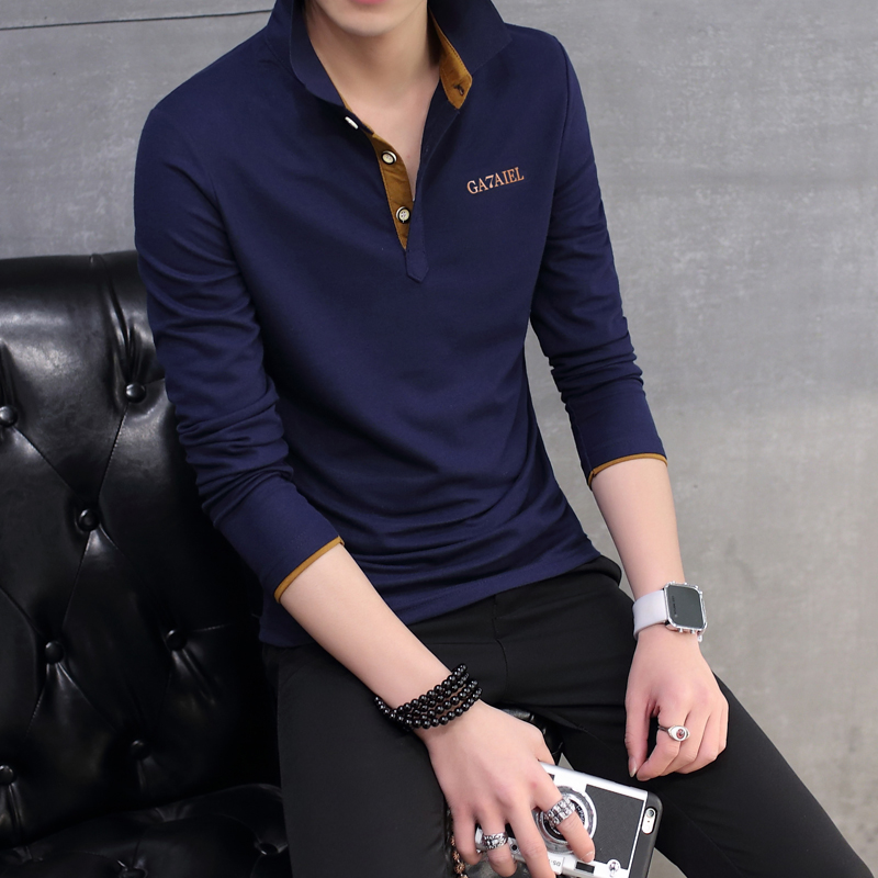 Mùa thu người đàn ông mới của dài tay leader T-Shirt cotton slim ve áo polo áo sơ mi kinh doanh bình thường cổ áo sơ mi
