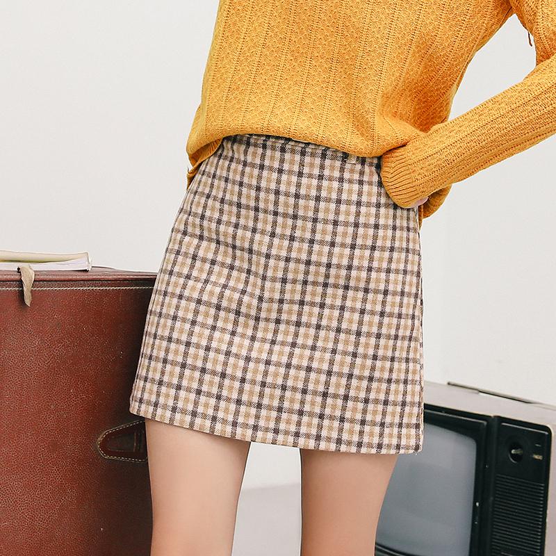 实拍2018秋冬新款气质复古格纹羊毛呢半身裙高腰A字裙短裙格子裙