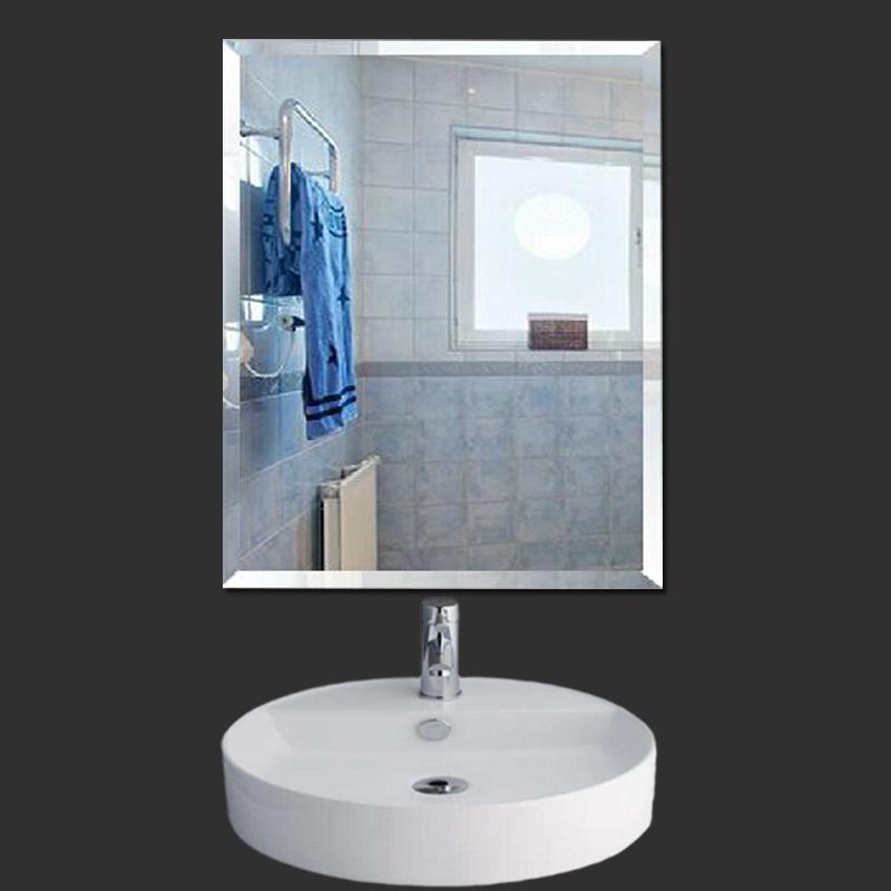 欧式浴室镜简约现代无框壁挂镜卫生间梳妆化妆镜粘贴墙面镜家用镜