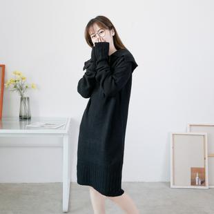 2020 год весенний и осенний женщины свитер отворот длинный рукав молния твердый эластичность хеджирование длина свитер свободный женщина