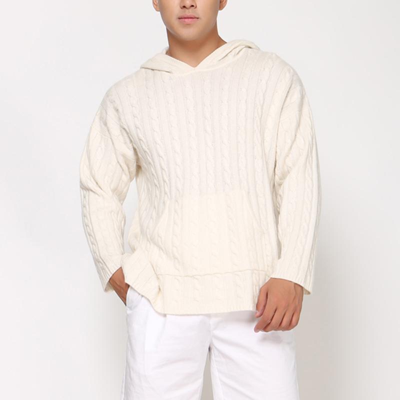 Si Khánh Gaowa áo len nam mùa thu và mùa đông nam áo thun trùm đầu giản dị áo sơ mi xoắn áo sơ mi dài tay áo len - Kéo qua