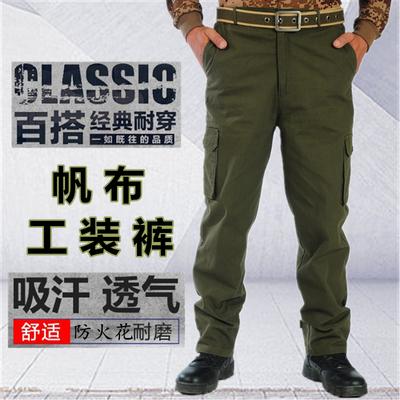 Mùa thu vải đa túi lỏng chịu mài mòn hàn bảo hiểm lao động yếm nam ngoài trời sửa chữa máy quân đội ngụy trang làm việc quần dài Quần làm việc