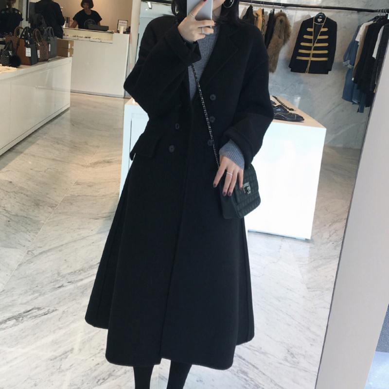 Chống mùa giải phóng mặt bằng nữ mùa đông đôi phải đối mặt với cashmere trong phần dài trên eo eo áo len Hàn Quốc phiên bản của tự trồng len áo