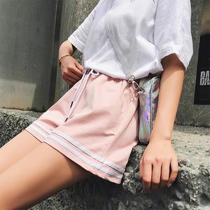 實拍新款夏季闊腿休閑寬松跑步外穿學生百搭a字熱褲原版質量