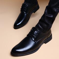 秋季韩版英伦尖头内增高加绒皮鞋男商务休闲真皮青年镂空正装男鞋