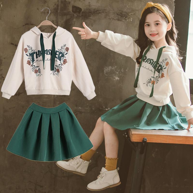 女童春秋季卫衣套裙时髦两件套休闲装童装