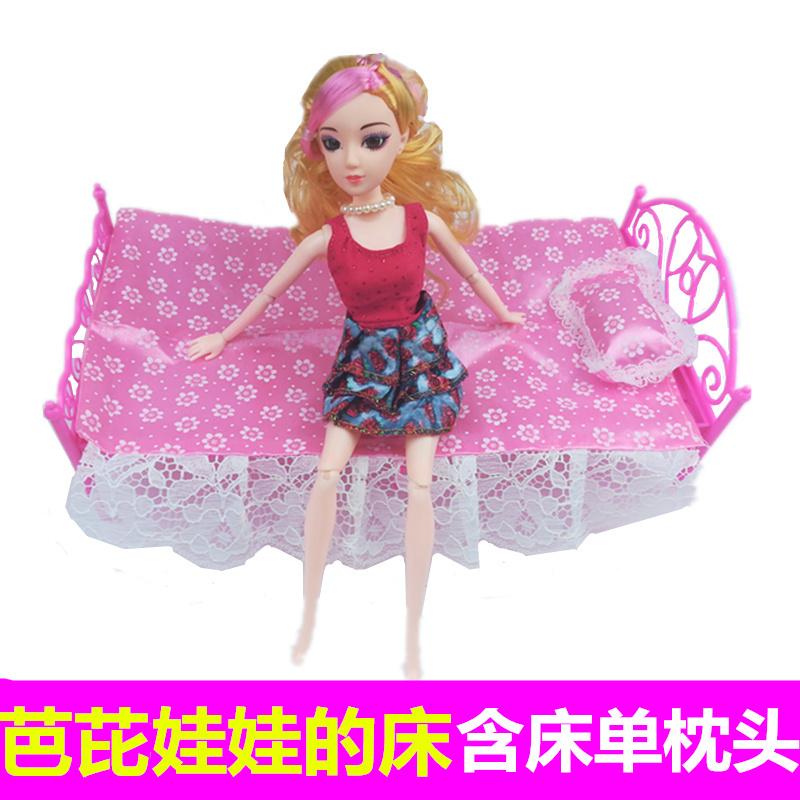 Barbie giường búp bê Công Chúa giường 1-10 nhân dân tệ giường đôi búp bê Barbie đồ nội thất đặt đồ chơi phụ kiện Daquan