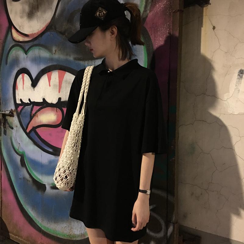 Ngắn tay t-shirt nữ sinh viên mùa hè 2018 cơ thể thấp hơn mất tích áo Hàn Quốc phiên bản ulzzang hoang dã Polo cổ áo váy nữ