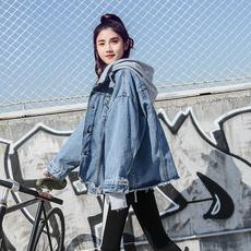 实拍有视频春款牛仔外套女拼接针织学生宽松韩版bf连帽卫衣假两件