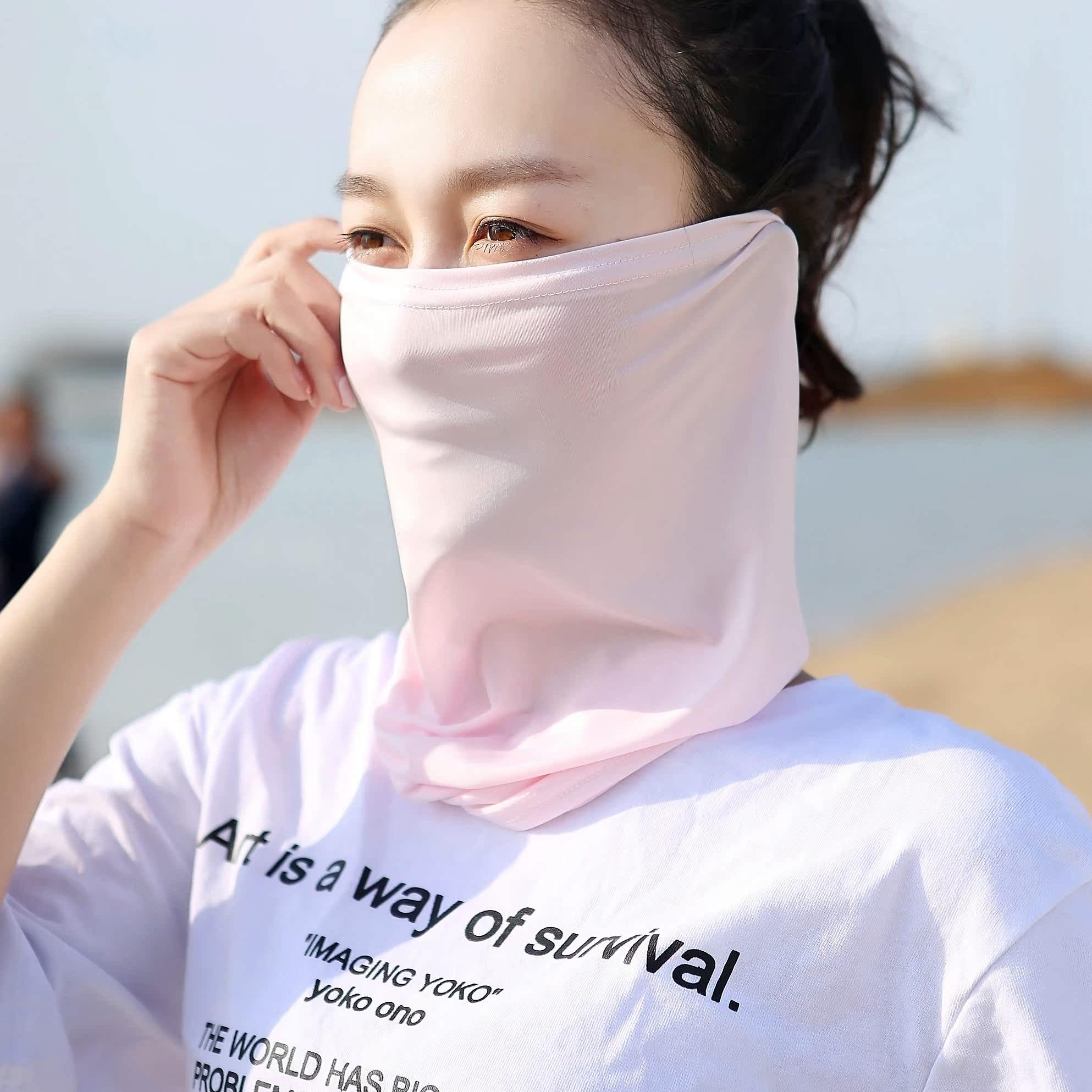 Ngoài trời khăn trùm đầu thay đổi kem chống nắng nam giới và phụ nữ mùa hè băng lụa phần mỏng ma thuật khăn tai che mặt cưỡi cá mặt nạ