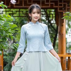 视频实拍3402#中国风民国唐装复古提花改良旗袍上衣学生班服