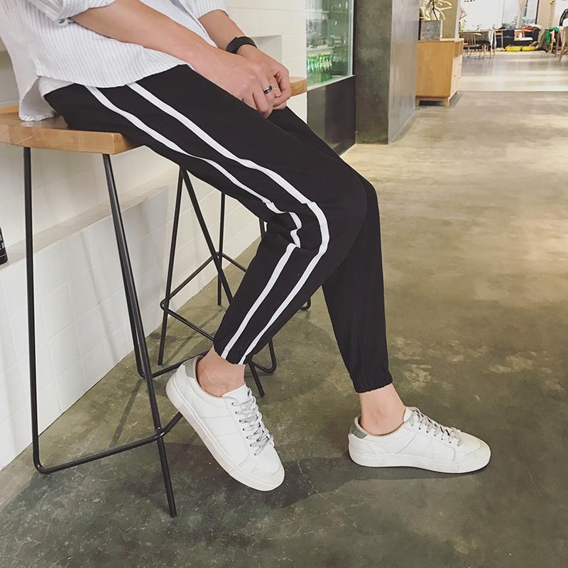 港风新款2018春夏新款男九分裤休闲裤运动裤大码青少年显瘦哈伦裤