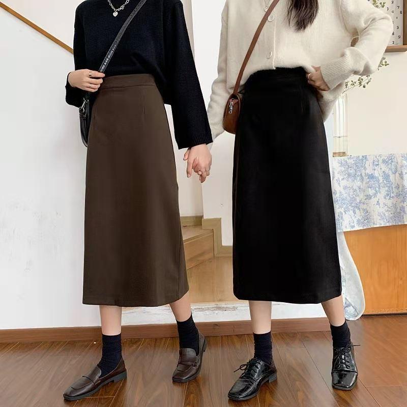 新款高腰显瘦毛呢气质黑色中长半身裙