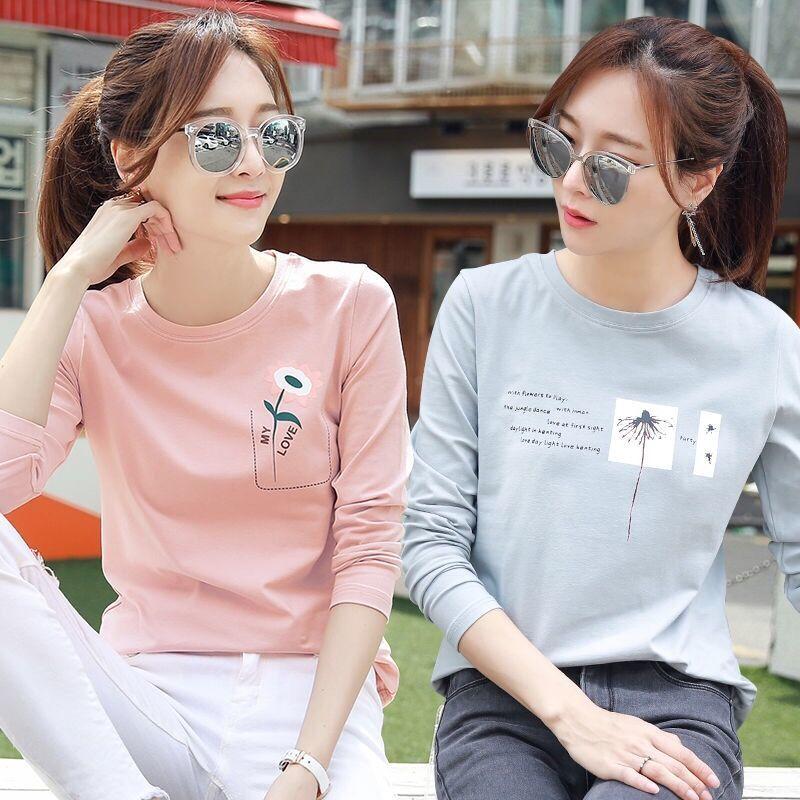 两件装秋冬长袖T恤女装2020新款打底衫绿色宽松春秋季韩版上衣女