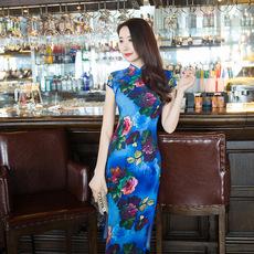 新款复古 改良中式旗袍日常修身2018立领 印花旗袍 妈妈装 连衣裙