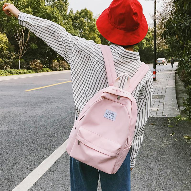 韩版学院风高中学生书包双肩包文艺小清新森系纯色背包日系少女心