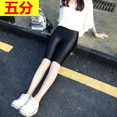 Băng lụa bóng xà cạp của phụ nữ phần mỏng mùa hè eo cao stretch Slim kích thước lớn chín quần mặc bảy quần năm điểm Quần tây thường
