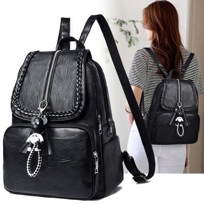 双肩包女2021新款背包真皮质感大容量韩版时尚百搭书包