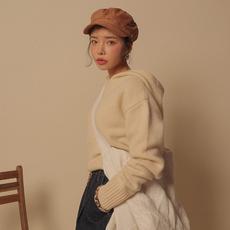 韩国chic 纯色连帽套头毛衣 908