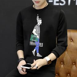 男士t恤潮流韩版2018新款学生休闲长袖衣服圆领打底上衣男装6