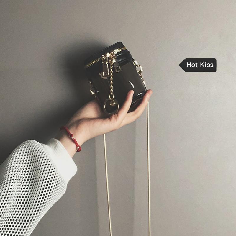 透明果冻包女2019新款韩版简约百搭链条单肩斜挎包时尚网红水桶包