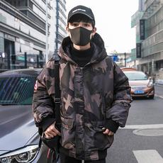 2018冬季迷彩日系90%绒连帽真毛领美式街头风羽绒服