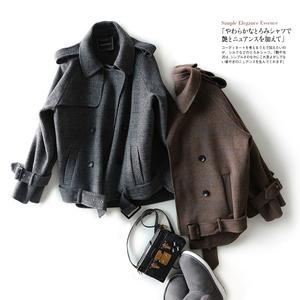 Xu bóng DY07054 sớm mùa thu hương vị tươi thời trang tỷ lệ hai mặt kẻ sọc ngắn len áo len
