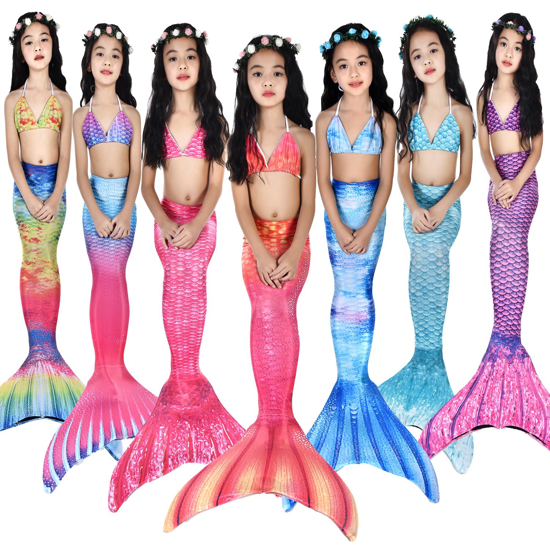 Trẻ em của nàng tiên cá áo tắm nàng tiên cá đuôi cô gái mermaid costume swimwear ba mảnh có thể được trang bị mắt cá chân