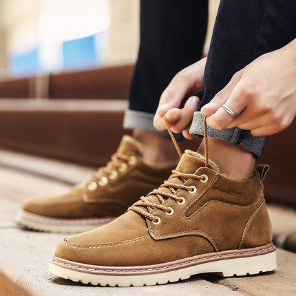 冬季保暖男鞋加绒短靴马丁靴高帮鞋棉鞋休闲鞋青年英伦工装靴新款