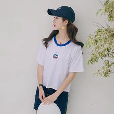 9232#夏季韩国chic刺绣宽松原宿风短袖t恤女百搭白色学生上衣