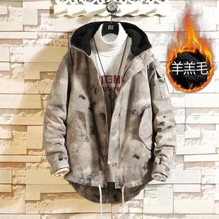 Winter camouflage cotton coat XL mid-length cotton suit men's tooling jacket thickening plus cashmere lamb wool cotton jacket men