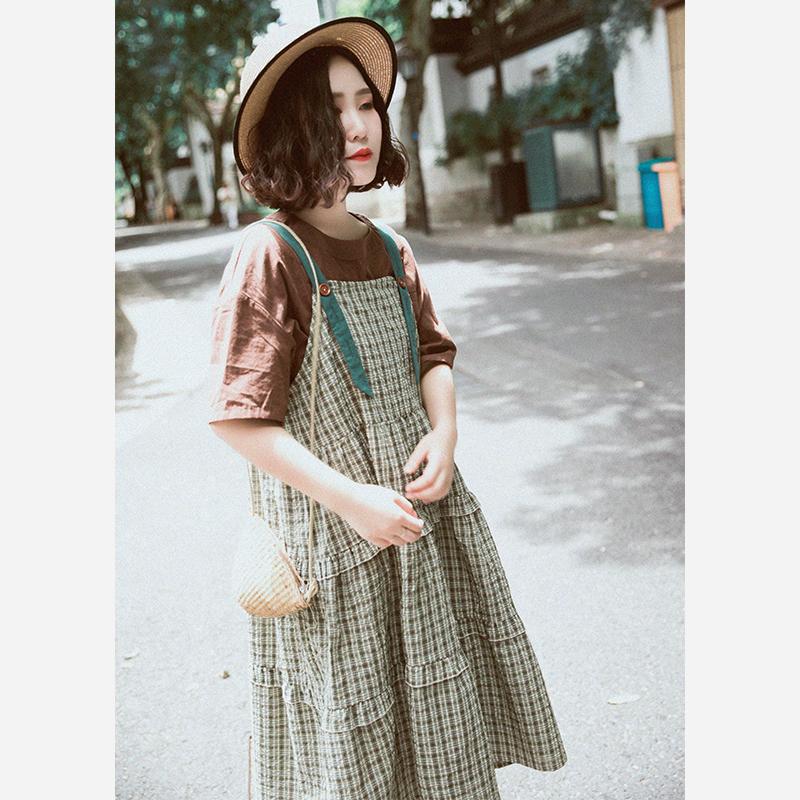Suji Ange thiết kế ban đầu cảm giác lỏng váy dài văn học retro kẻ sọc dây đeo váy nữ mùa thu phong cách mới