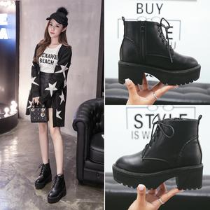 06秋季新款韩版真皮粗跟短靴尖头马丁靴单靴中跟女靴子及踝靴Q808