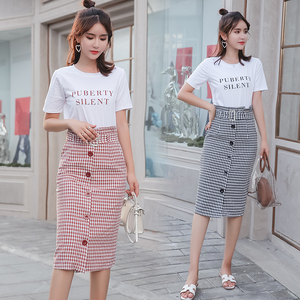 实拍2018夏季新款韩版时尚圆领短袖T恤+单排扣格子裙女两件套装