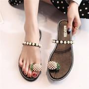 涵涵夏季新款韩版珍珠菠萝平底一字凉拖沙滩鞋
