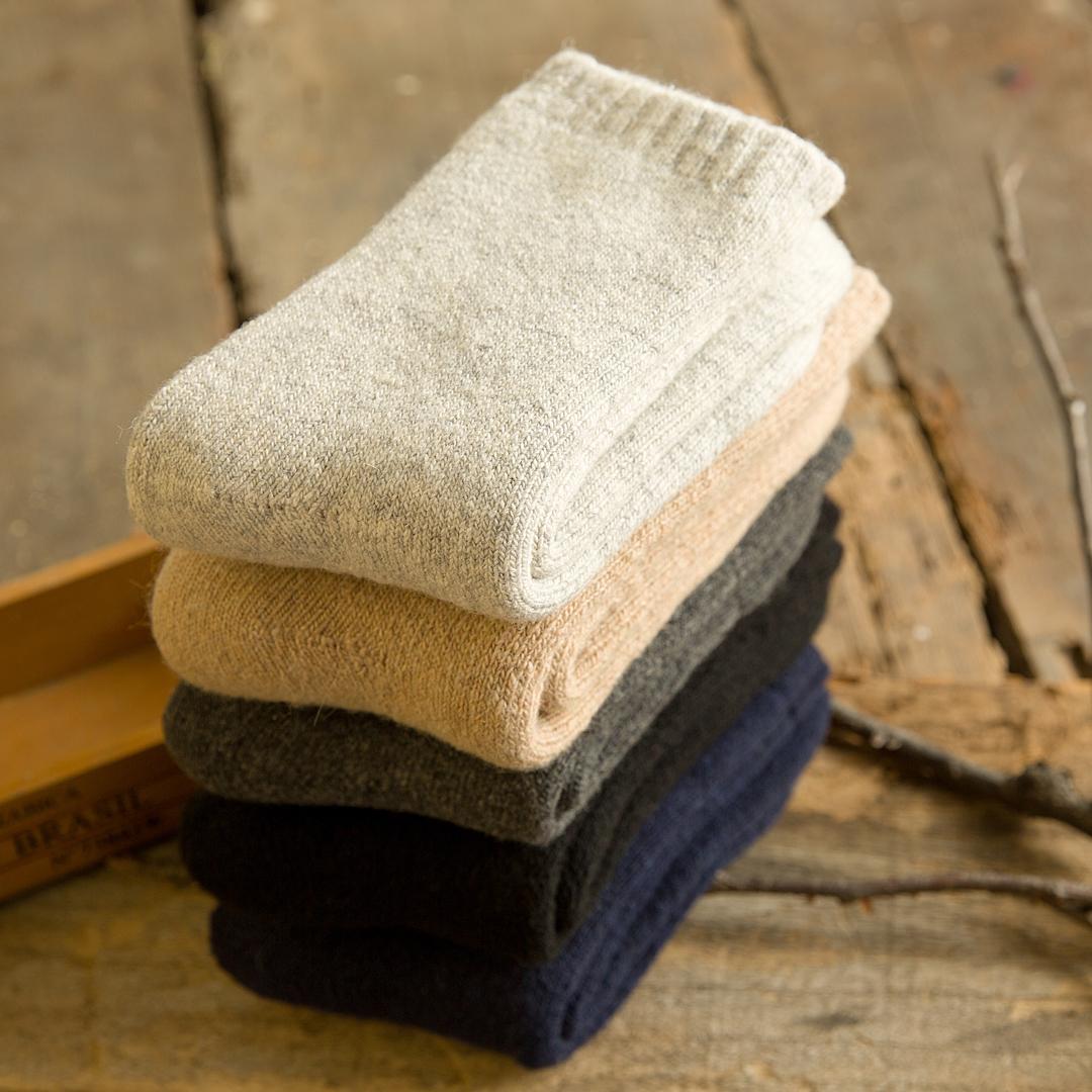 3 đôi vớ mùa đông thêm dày vớ nam cashmere vớ dày ấm vớ thêm vớ len dày cộng với vớ nhung ống - Vớ sợi tre