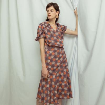 Tương đối sợi Wormwood | Pháp retro in ấn váy hoa đuôi cá váy trong phần dài của eo cao quấn mùa hè váy đầm