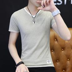 新款夏季纯色半袖男V领修身打底单穿短袖男9802#