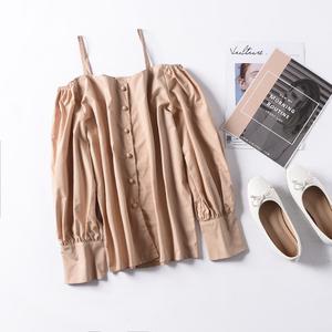 G 13 mùa thu mới từ cổ áo sling dài tay áo len đơn ngực áo 2018 Hàn Quốc thời trang hoang dã áo sơ mi