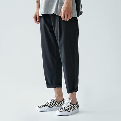 Chinism 2018 mùa hè cơ bản mới rộng chân xuống quần đen triều bình thường chín quần người đàn ông lỏng lẻo Crop Jeans