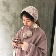 实拍1653a韩chic少女灰粉麻花针织毛线耳罩 2色
