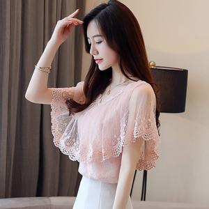 Ren áo thun voan ngắn tay nữ mùa hè ăn mặc 2018 mới lưới áo siêu cổ tích là khí mỏng khí nước ngoài áo sơ mi nhỏ thủy triều
