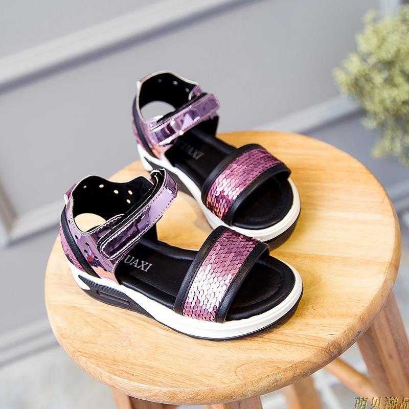 女童凉鞋2018夏季新款韩版亮片公主鞋宝宝鞋休闲中大童女孩童鞋潮