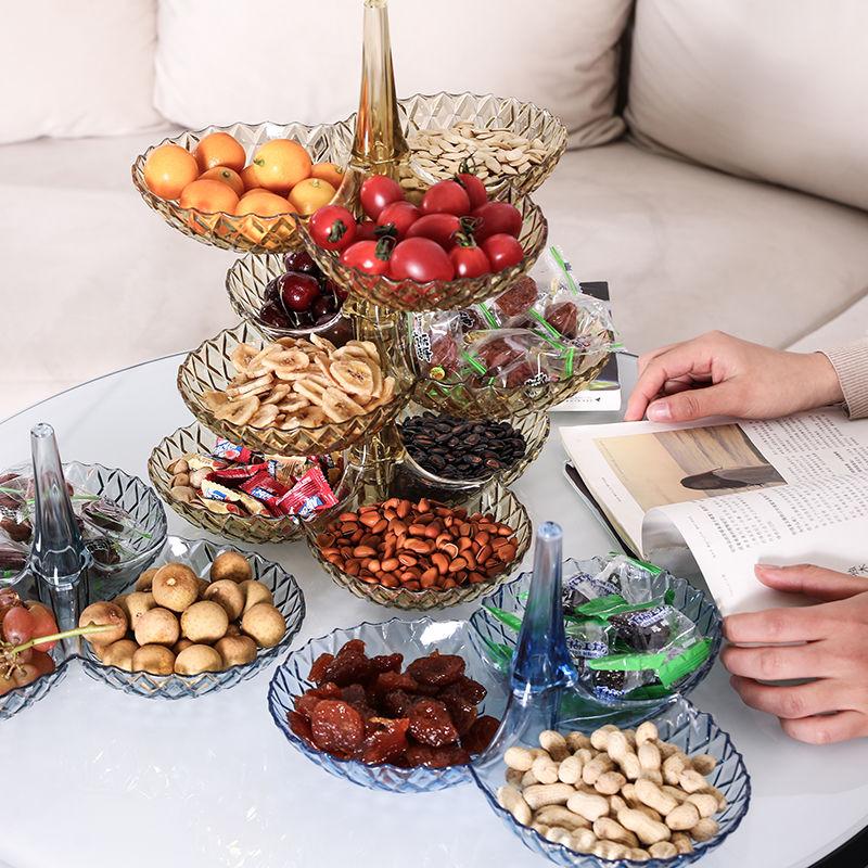 果盘客厅零食�收纳盒水果盘收纳多层塑∩料客厅茶几家用糖果盘干果盒