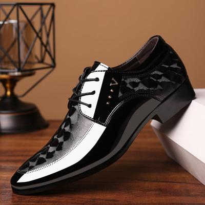 2021亮面皮鞋男士商务正装鞋子英伦系带大码夏季男鞋百搭婚鞋