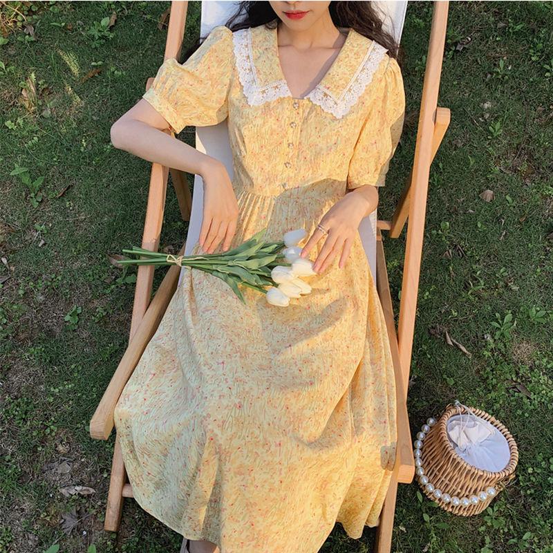 夏季高品质雪纺连衣裙文艺复古碎花长裙女装