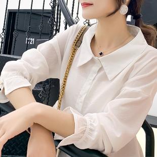 春装条纹衬衫女中长款衬衣大码韩版上衣