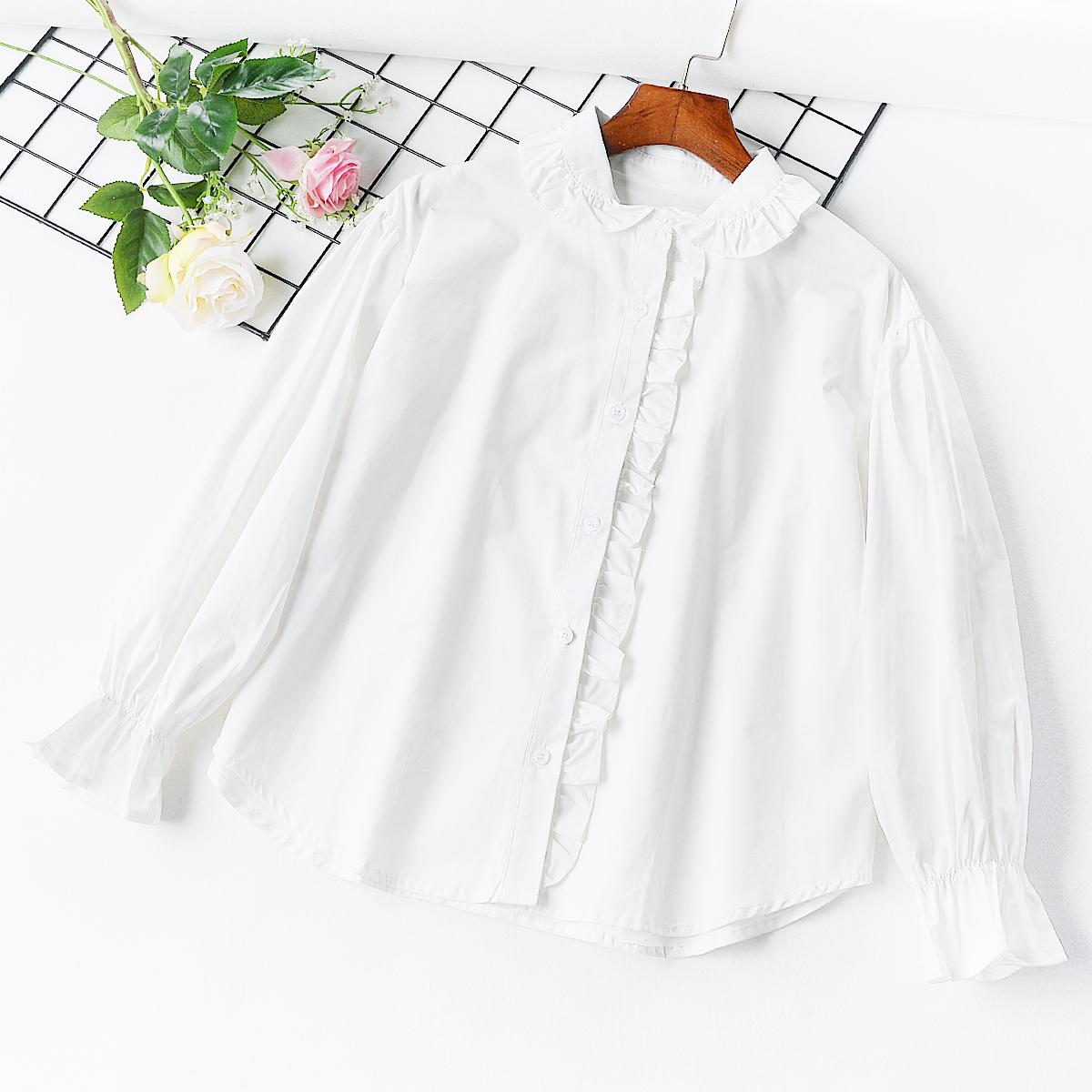 L7 mùa xuân và mùa hè mới tươi ren nấm cổ áo ve áo áo sơ mi trắng nữ lá sen dài tay áo đáy áo triều hoang dã